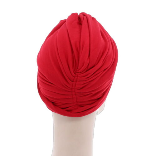 Womans Red Turban Pretty Knot Head Wrap Soft Stretchy Bright  Red Chemo Cap