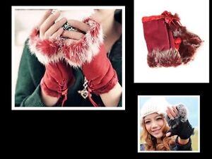 Kaninchen-Pelz-Wildleder-Nap-Hand-Handgelenkwaermer-halbe-Finger-Handschuhe-Neu