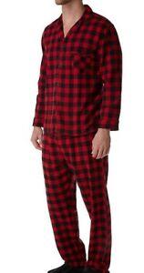 Red Plaid Button Up Longs Sleeve Pants Pajamas PJ Set
