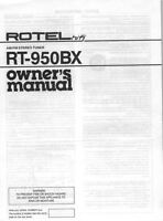 Rotel Rt-950bx Tuner Owners Manual