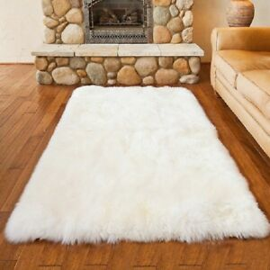 Faux Fur Area Rug Gy White
