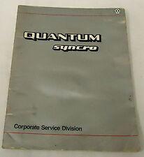 1985 Vw Service Training Manual Quantum Syncro Volkswagen Corporate Division