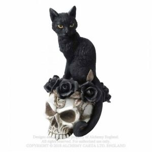 ALCHEMY-ENGLAND-Gothic-Steampunk-Resin-Cat-amp-Skull-ORNAMENT-Grimalkin-s-Ghost