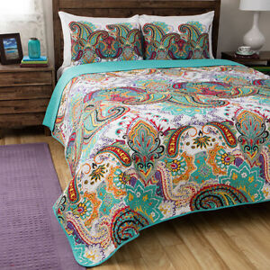 BEAUTIFUL MODERN BLUE TEAL AQUA RED BOHEMIAN GLOBAL TROPICAL COMFORTER SET