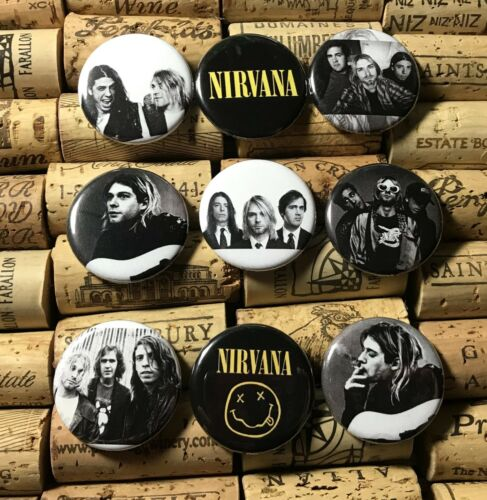 "NIRVANA set of 9~ Bigger size 1 1//4/"" Pinback Buttons Pins KURT COBAIN DAVE GROHL"