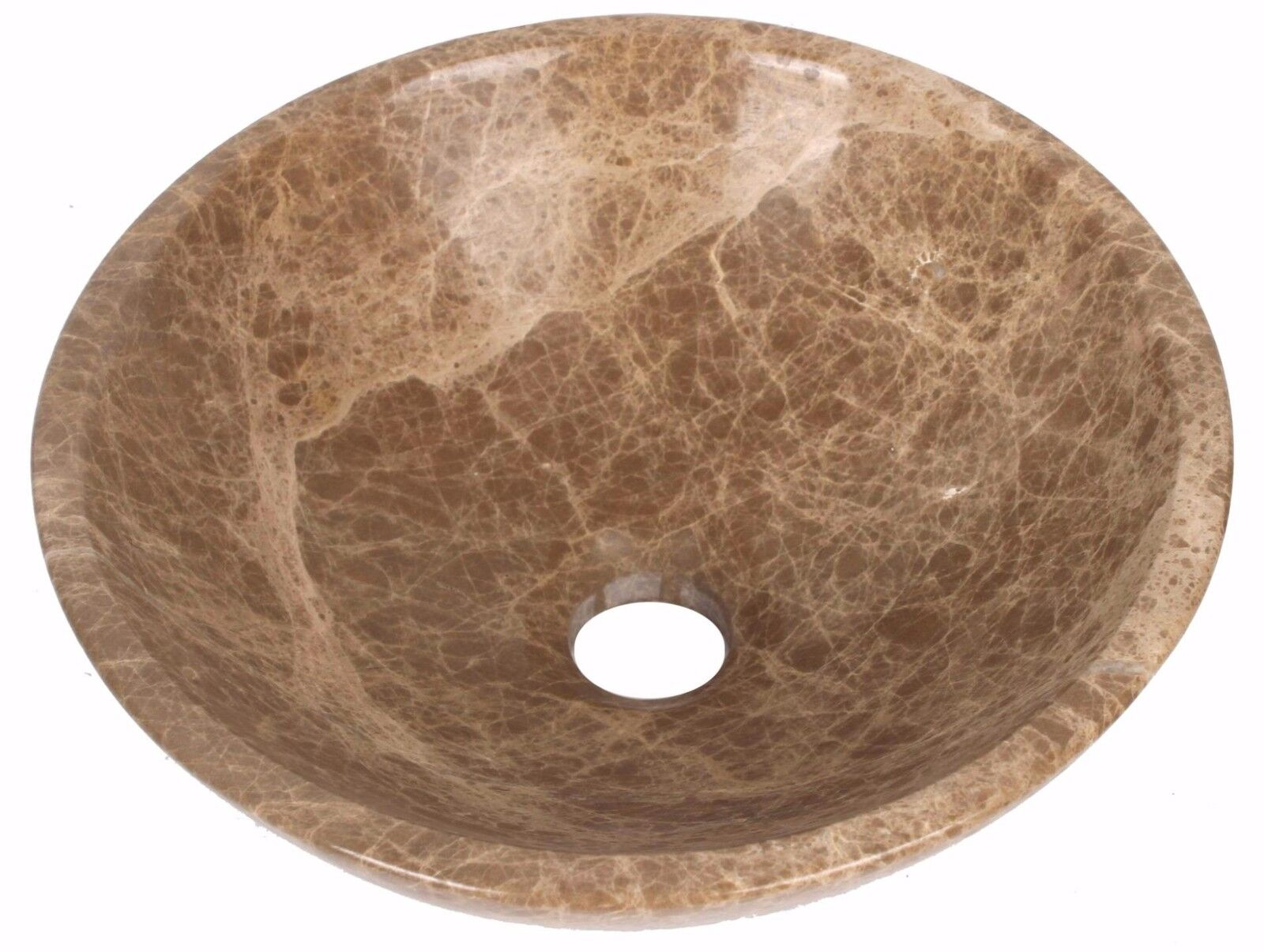 Marbre Main Visage Lavabo Bol Salle de Bain Diamètre 300 mm Lumière Emperador (0053)