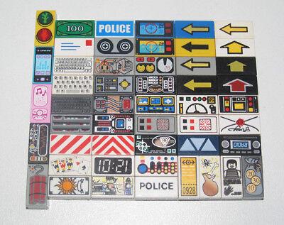 Lego ® Plaque Lisse 1x2 Sérigraphiée Tiles Printed Choose Model Ref 3069b Domanda Che Supera L'Offerta