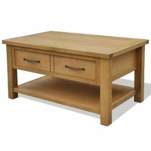 Details About Vidaxl Solid Oak Wood Coffee Table With Drawer Living Room Furniture Stand