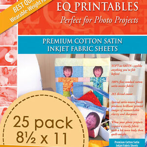 Details About Electric Quilt Eq Printables Premium Cotton Satin Inkjet 25 Fabric Sheets