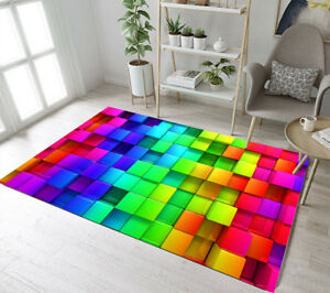 terrific colorful living room rug | 3D Color Cube Area Rugs Modern Home Living Room Carpet ...