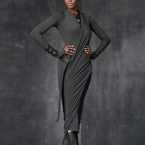 New-Sexy-Knitted-Wrap-Dress-Rayon-Jersey-Bodycon-Stretch-Ball-Gown-Pullover