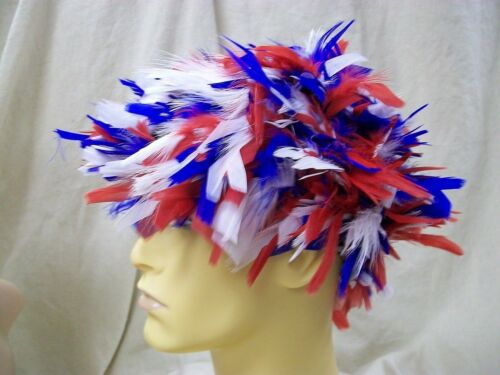 Red White /& Blue Feather Wig Patriotic America Election Clown USA Patriot Spirit