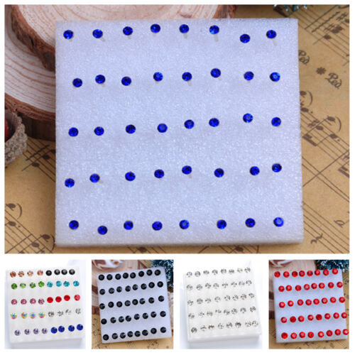 20 Pairs//pack 2016 Rhinestone Crystal Piercing Stud Earrings Blue Red Mix Color