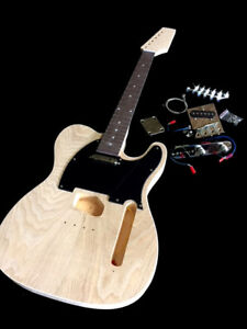 new ash diy tele complete guitar kit top quality woods ebay