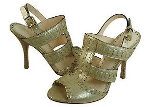 Coach-Womens-Kareena-Gold-Leather-Gladiator-Peep-Toe-Slingback-Heels-Pumps-Shoes