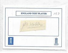 JACK HOBBS HAND SIGNED PAPER ON WHITE CARD  - ENGLAND CRICKET LEGEND