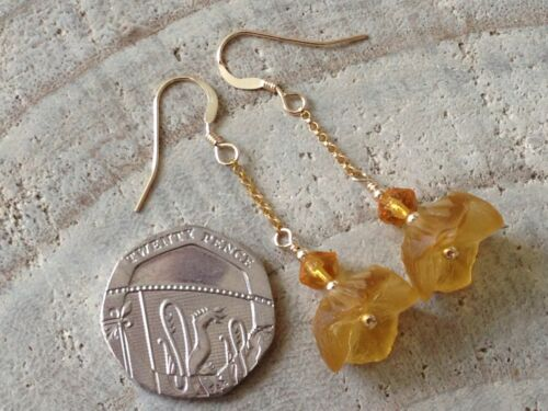 Art Deco Golden Amber Carved Petticoat Flower Glass 14ct Rolled Gold Earrings