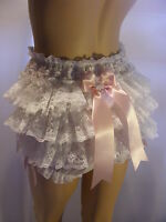 Sissy Adult Baby Cotton Daisy Frilly Bum Diaper Cover Panties Waterproof Option