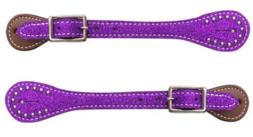 Showman YOUTH Kids Girls Glitter Overlay Barrel Racing Spurs Leather Spur Straps