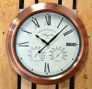 Outdoor Garden Wall Clock Thermometer Humidity Meter Barometer 38cm Rust Colour Home And Products Ltd