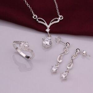 925 Silver Diamond Collar y pendiente conjunto