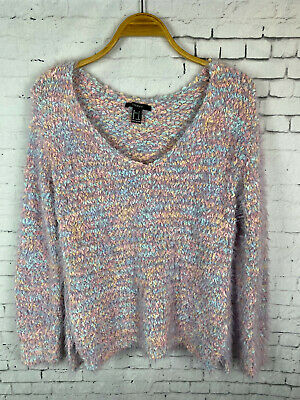 FOREVER 21 KNIT SWEATER TOP SMALL WOMEN'S V NECK PINK PURLE FUZZY SOFT (M13) | eBay