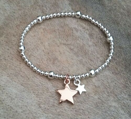 Silver /& Rose Gold Ball Beaded Double Star Charm Bracelet