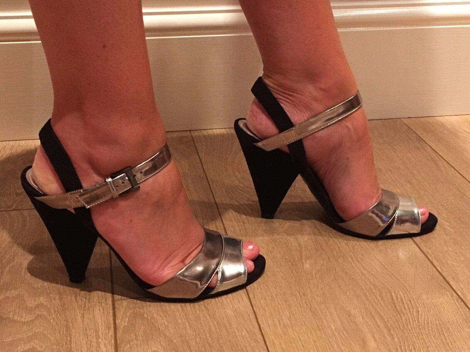 Women's Next Size 6 Silver + Black Heels Good Condition