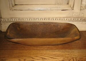 DOUGH-BOWL-Table-Centerpiece-Primitive-French-Country-Farmhouse-Decor-Wood-Look