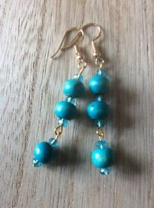 Long-Turquoise-Wooden-and-Crystal-Drop-Earrings