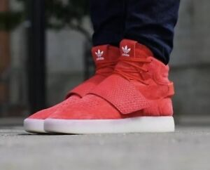 Details about Adidas Originals Basketball Shoes Tubular Invader Strap Mens Sz 8 Red Suede New