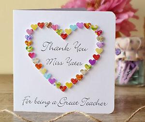 handmade thank you teacher card personalised thankyou teacher card