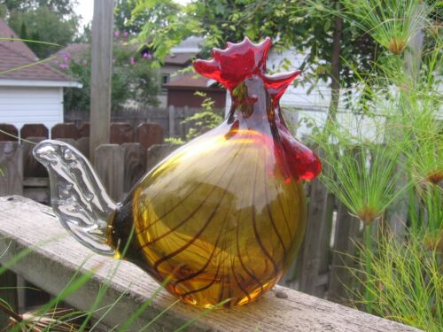 "Glass Brown & Red Hen Hollow Hand Blown Around 7 1/2"" Tall 7 1/2"" Long 4"" Wide"