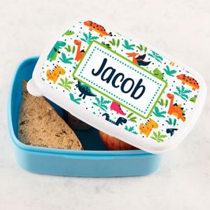 Personalizado Niños Dinosaurio escena Azul Caja de almuerzo almuerzo sándwich Escuela Tub1 Bañera