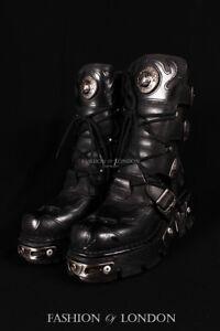 s3 in Goth Stivali Rock neri New Flame Punk unisex motociclista pelle da 107 qXXw7E1xU