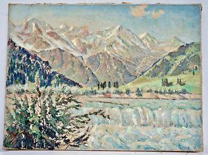 Humour Allgäuer Paysage De Montagne, Huile Sur Lw. De Johann Paul 1947, 80x60 Cm. (l16)
