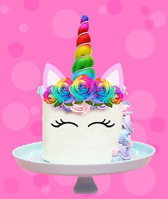 RAINBOW UNICORN GOLD HORN EARS EDIBLE STAND WAFER CAKE ...