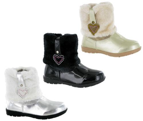 RSB Inverno Pelliccia Neve Ragazze Moda Alla Caviglia Cerniera Stivali LUCIDI SMART Infant Uk 5-12