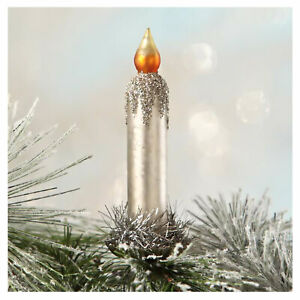 Bethany-Lowe-Glitter-Silver-Candle-Retro-Christmas-Tree-Decor-Clip-On-Ornament