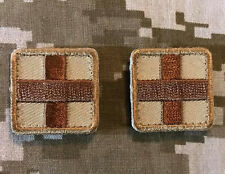 MEDIC CROSS SQUARE EMT EMS ARMY MEDICAL USA TACTICAL DESERT VELCRO 2 MINI PATCH