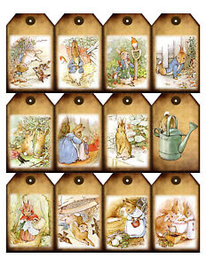 Beatrix-Potter-Peter-Rabbit-Favor-Gift-Tags-Card-Topper-Craft-Glossy-Finish