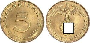 Third Reich 5 Pfennig 1937 E Fresh Mint Condition