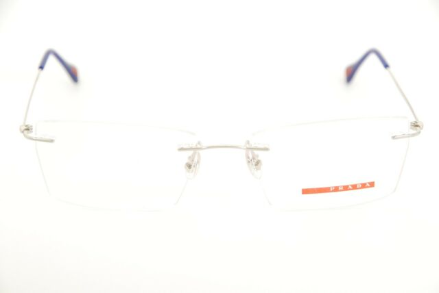 6695f22a1c61f New Authentic Prada VPS 55E 1BC-1O1 Silver Blue Red 54mm Rimless Eyeglasses