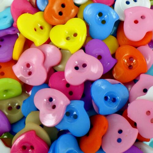 13mm Heart Shaped Buttons Acrylic Assorted Colours x 50 pcs B189
