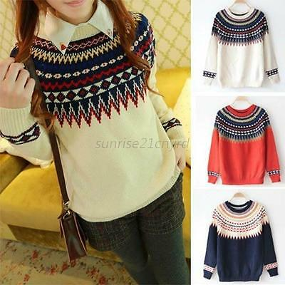 Women Long Sleeve Casual Knit Sweater Crew Neck Pullover Loose Sweater Knitwear