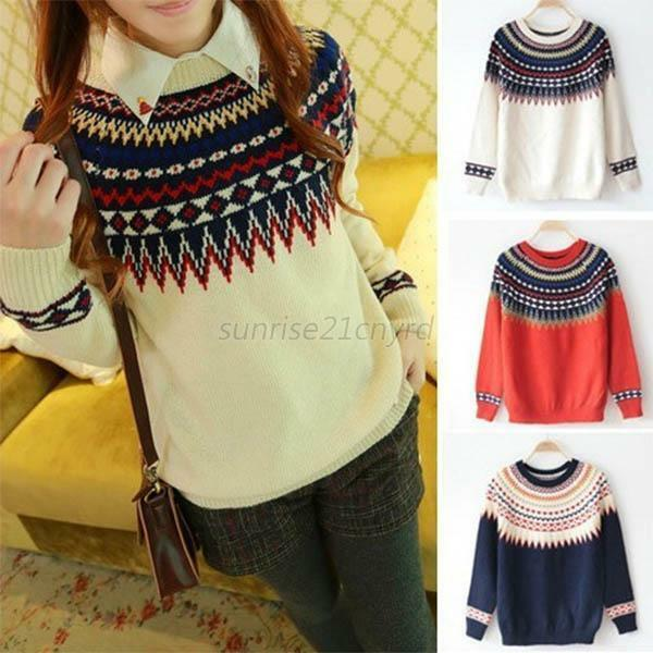 Women Long Sleeve Casual Knit Sweater Crew Neck Pullover Loose Sweater Knitwear