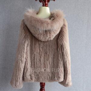 Hood Fur Casual Knitted New Womens Jacket Rabbit Coat Real Fashion Rex 2018 FHaq7wR8E