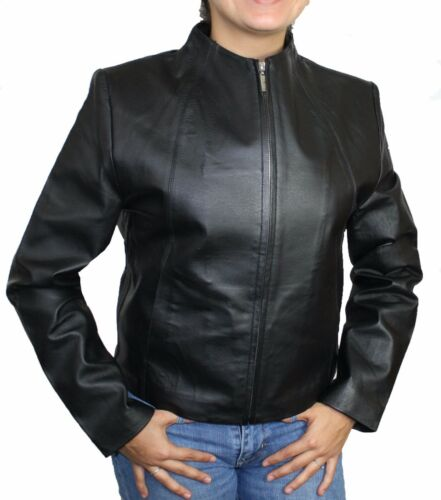 Cute Lightweight Black Zip-Up Genuine Napa Leather Two Pockets Jacket  PN 319