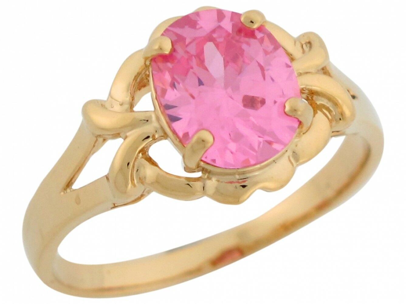 10k or 14k Yellow gold Pink CZ Split Shank Simulated October Birthstone Ring
