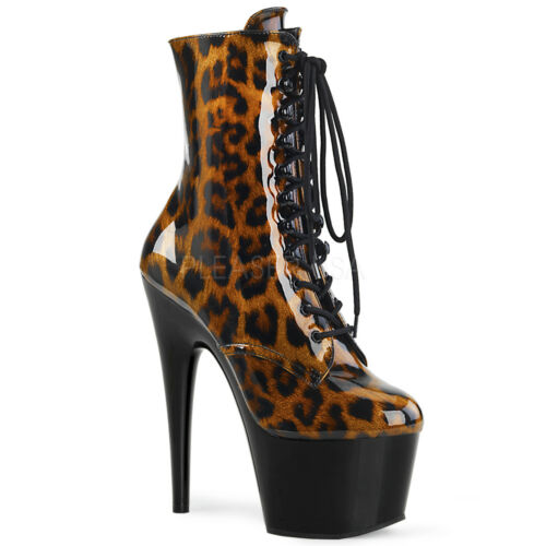 "ADORE-1020LP 7/""LEOPARD PRINT CLOSED TOE CLASSIC LACE UP POLE DANCE PLATFORM BOOT"